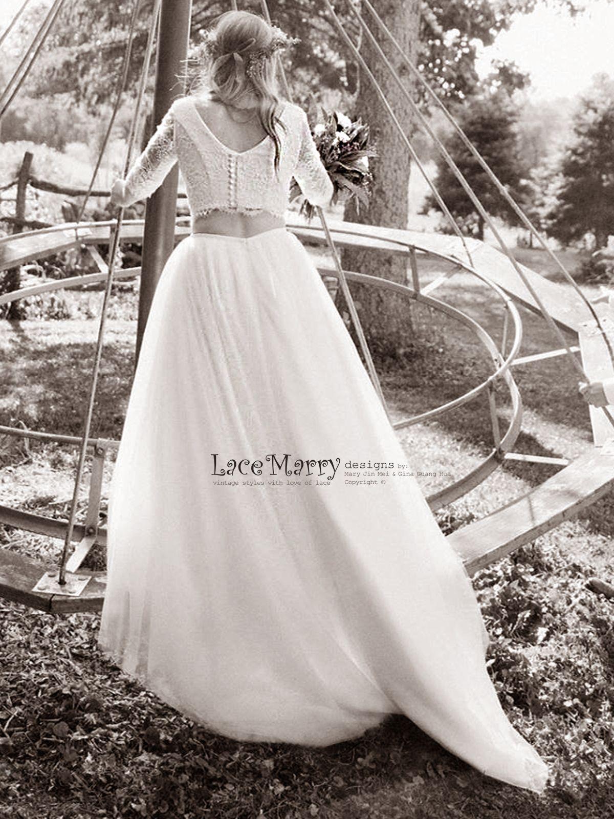2 piece crop top wedding dress  Two Piece Wedding Dress Set  Lace Crop Top with Round Neckline and