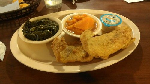 Fried whiting w/ mac & cheese and yams at Busy Bees on MLK!!!  #ATLBiteLife