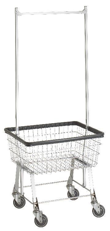 Commercial Wire Laundry Basket Cart W Hanger Rack New Ebay