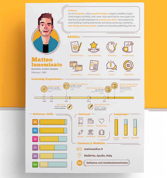 Matteo Innominato creative resume template | Prints Inspiration ...