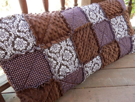 Damask Pillowcase Standard Size Brown Rag By Kristinscountryhome Rag Quilt Rag Quilt Patterns Quilted Pillow Shams