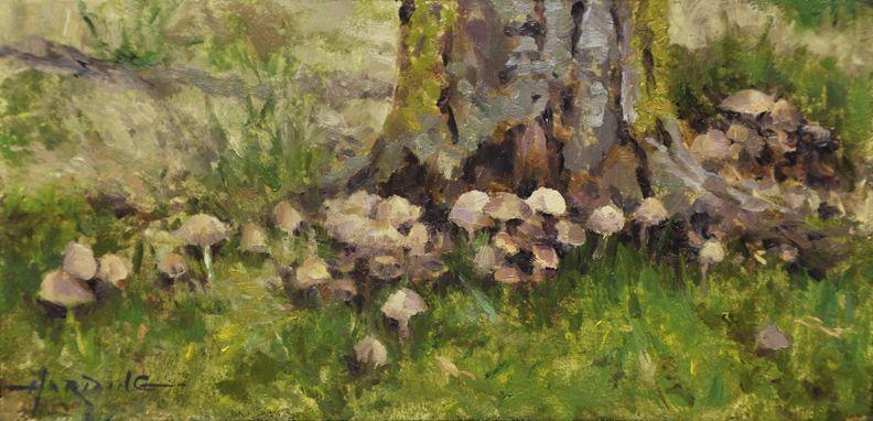 """""""Mushroom Procession"""" 4 x 8"""" Oil on Panel"""