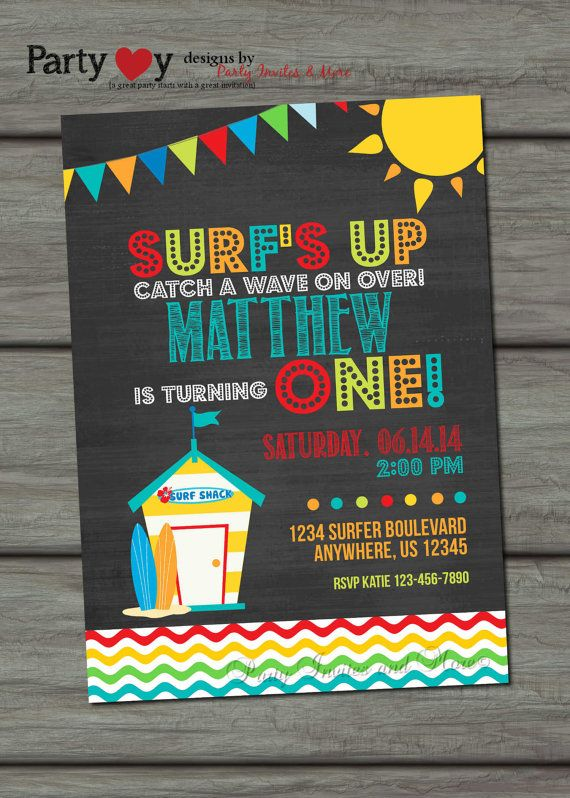 Surfer Birthday Invitation Surfs Up By PartyInvitesAndMore