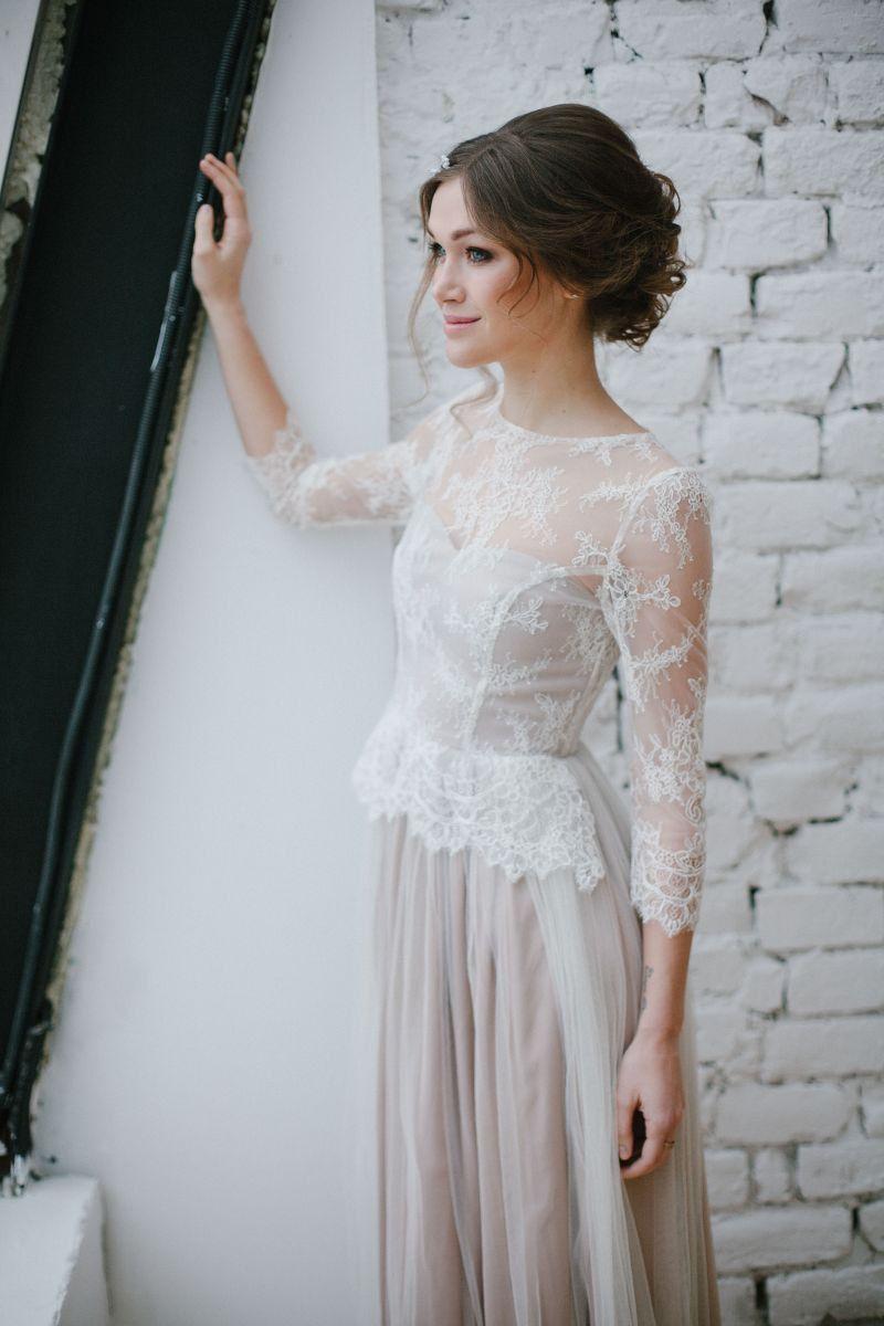 Vintage Brautkleid, Tüll Brautkleid, Farbe Brautkleid, alternative