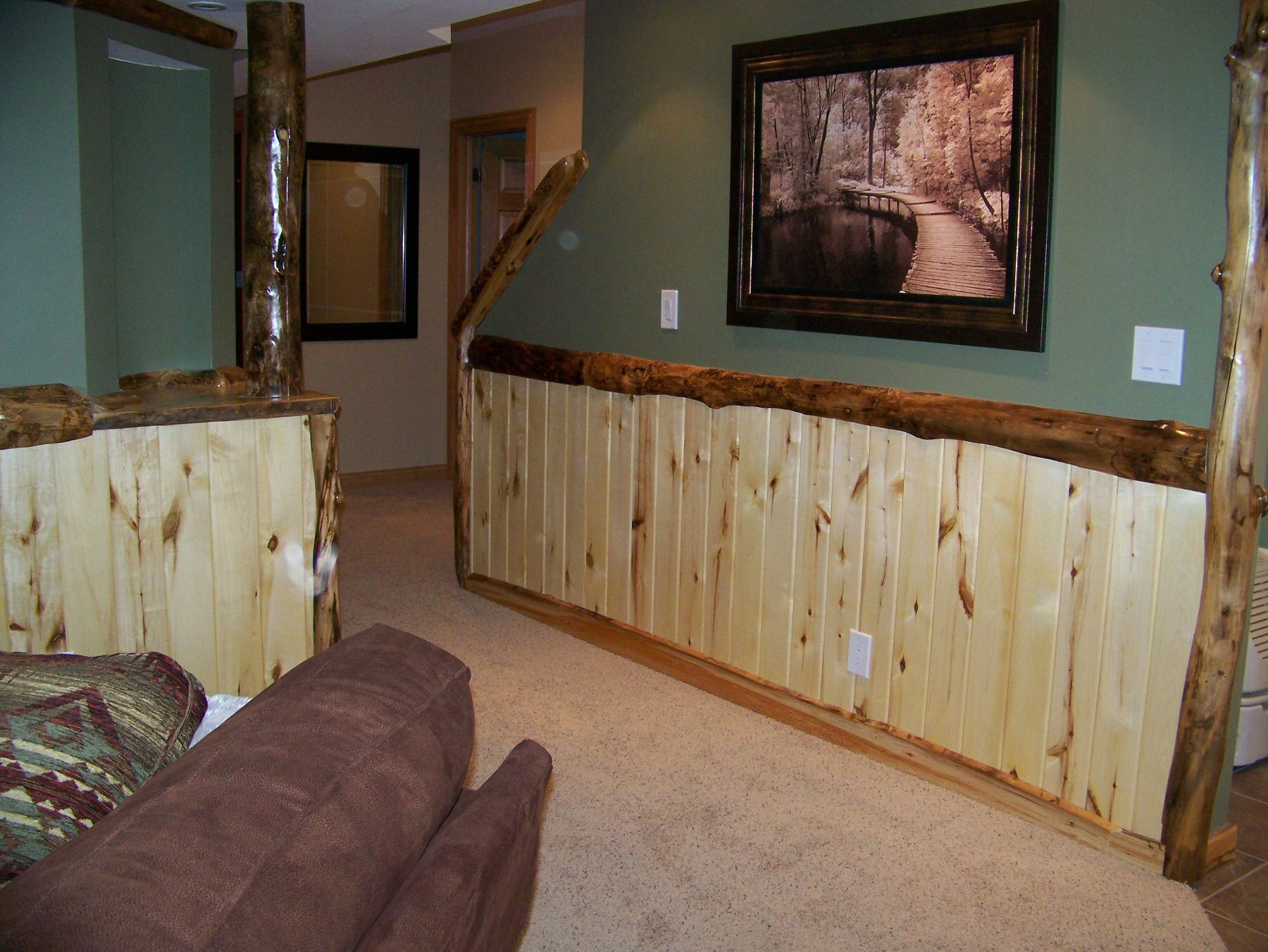 Rustic Man Cave Walls : Custom log trim and rustic wood work in a man cave for