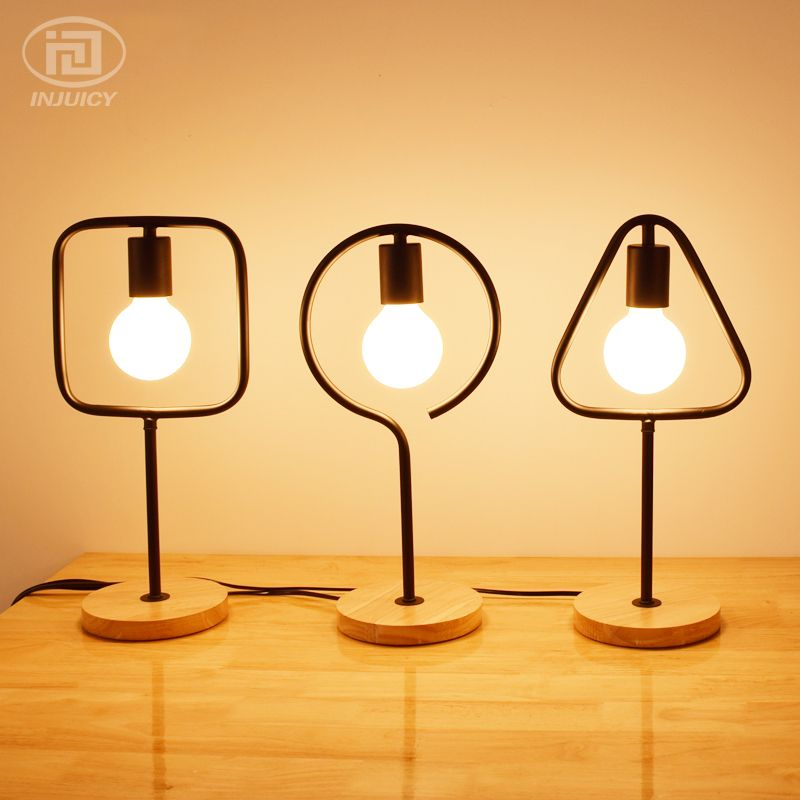 Vintage Wooden Base Metal Wrought Iron Lampshade E27 Led Table Light Art Geometry Frame Desk Lamp Living Rooms Bedside Decor Table Lamp Lamp Wooden Table Lamps