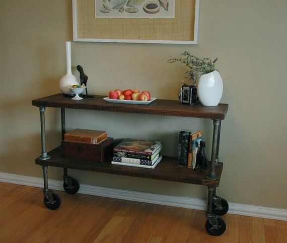 Bon Vintage French Industrial Inspired Console Table On Casters   Mid Century  Modern