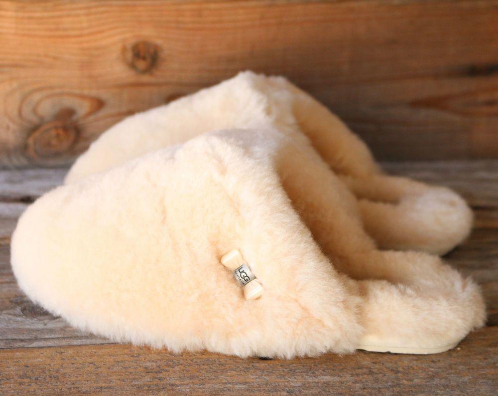 7ba5bfc460b UGG Australia Womens Fluff Clog Natural Sheepskin Scuff Slippers US ...
