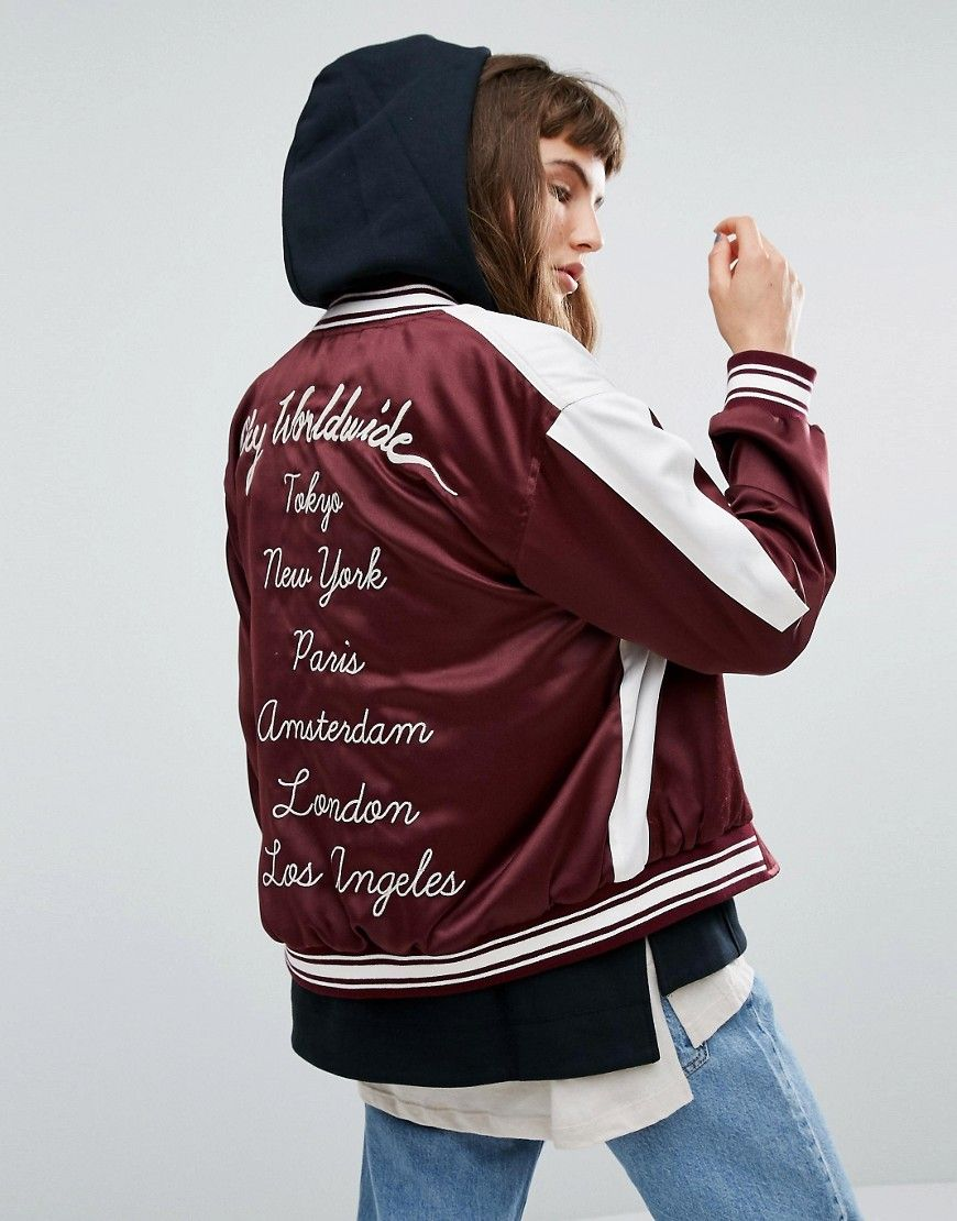 8e47d27ed Obey Satin Bomber Jacket With Eagle Embroidery And Back Design ...