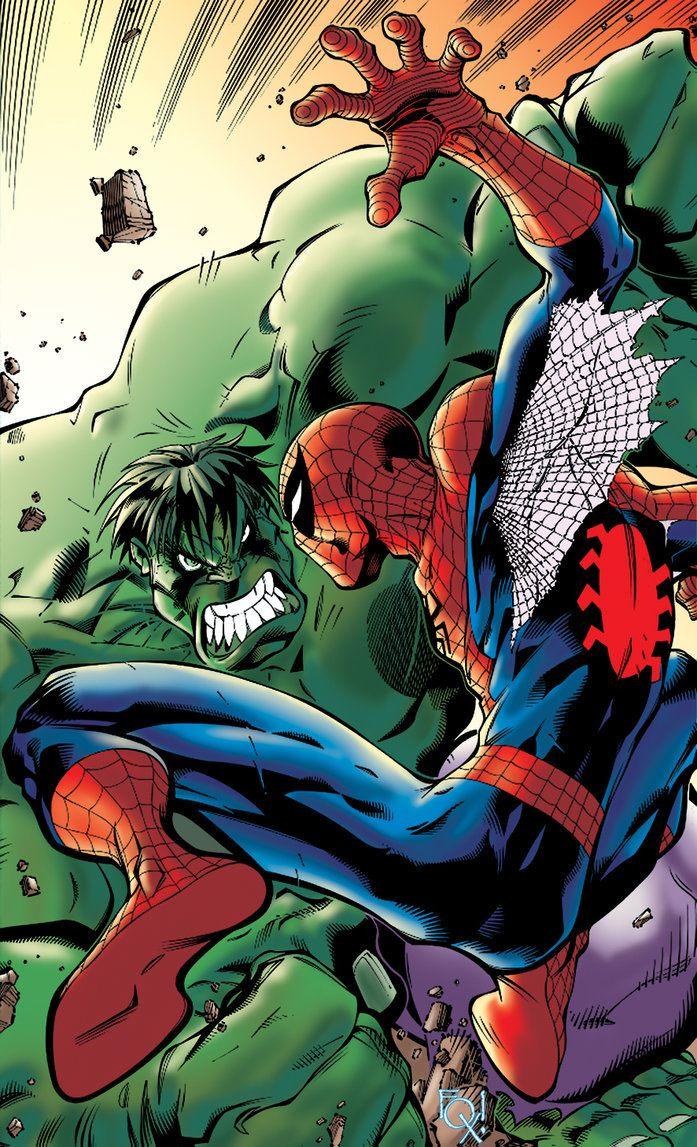 spiderman fan art spiderman vs hulk by tiagofox