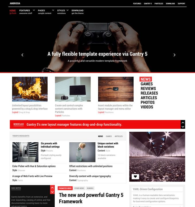 Rockettheme Ambrosia Joomla Template Ambrosia Is A Contemporary