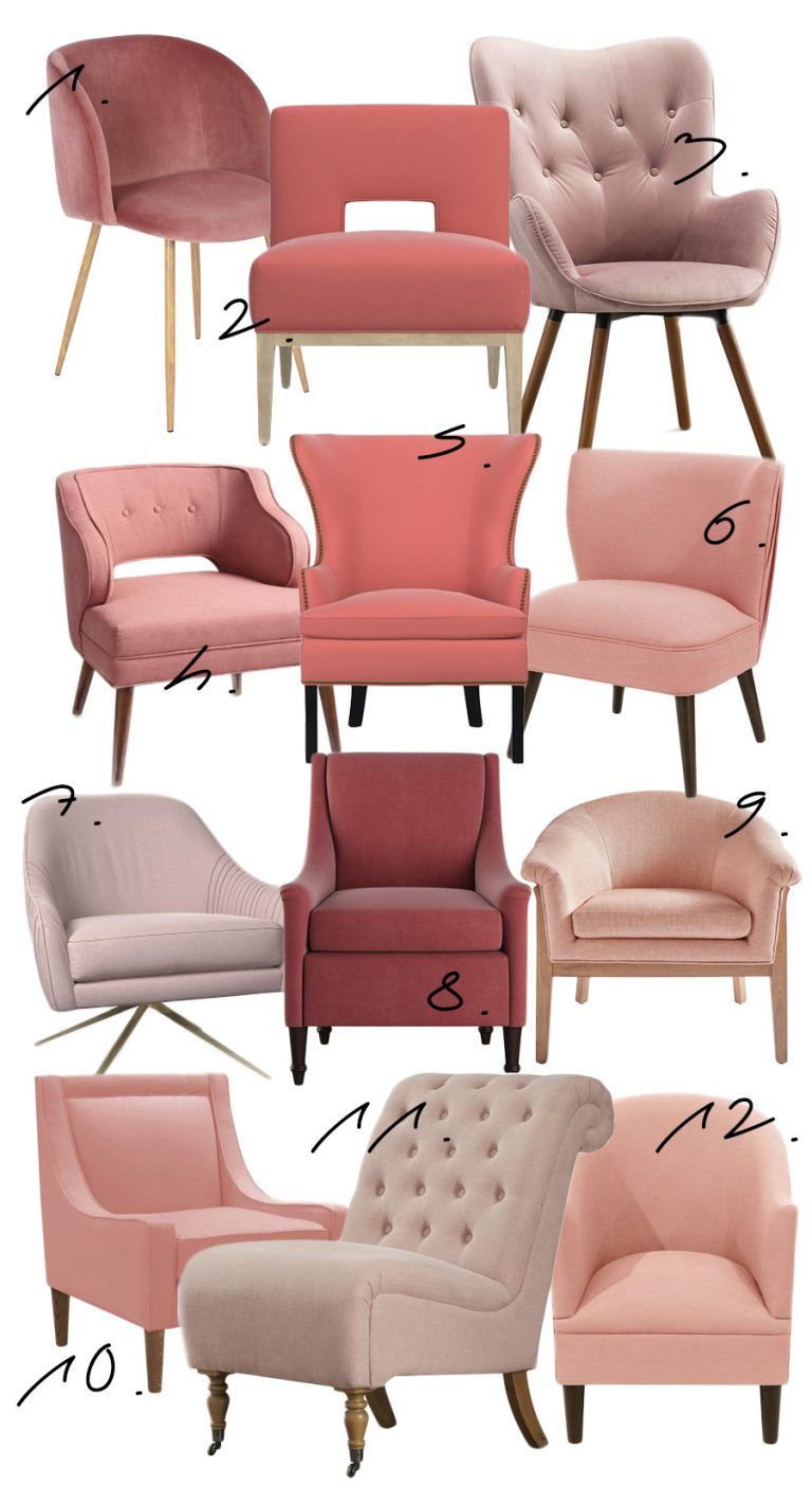 blush accent chair with ottoman