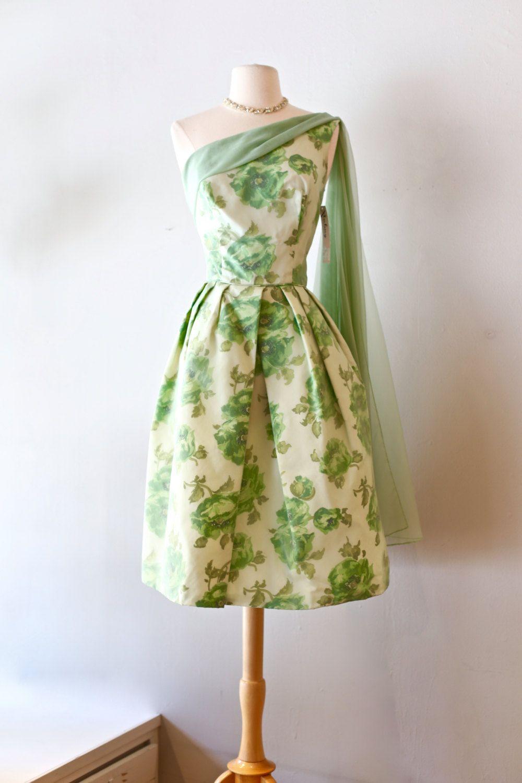 Vintage 1950s Garden Party Dress ~ Vintage 50s Green Floral Cocktail ...