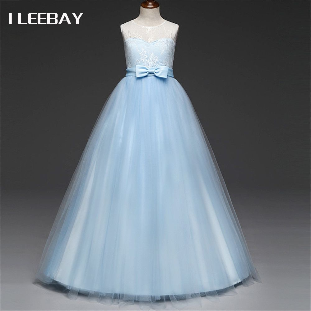 Baby girls evening long dress kids floral prom princess clothes robe