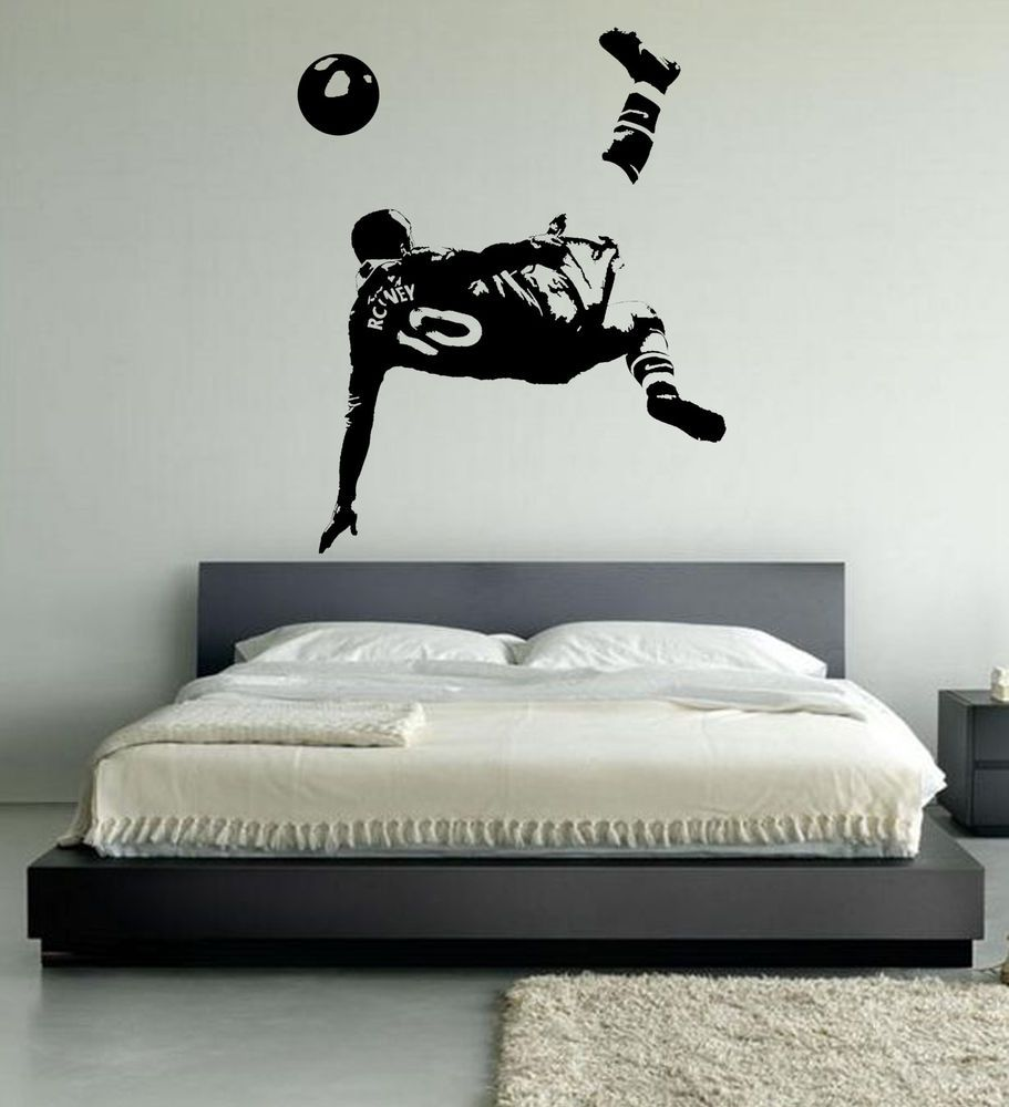 Teenage bedroom wall art - Wayne Rooney Football Wall Art Stickers Over Head Kick Manchester United Player In Home