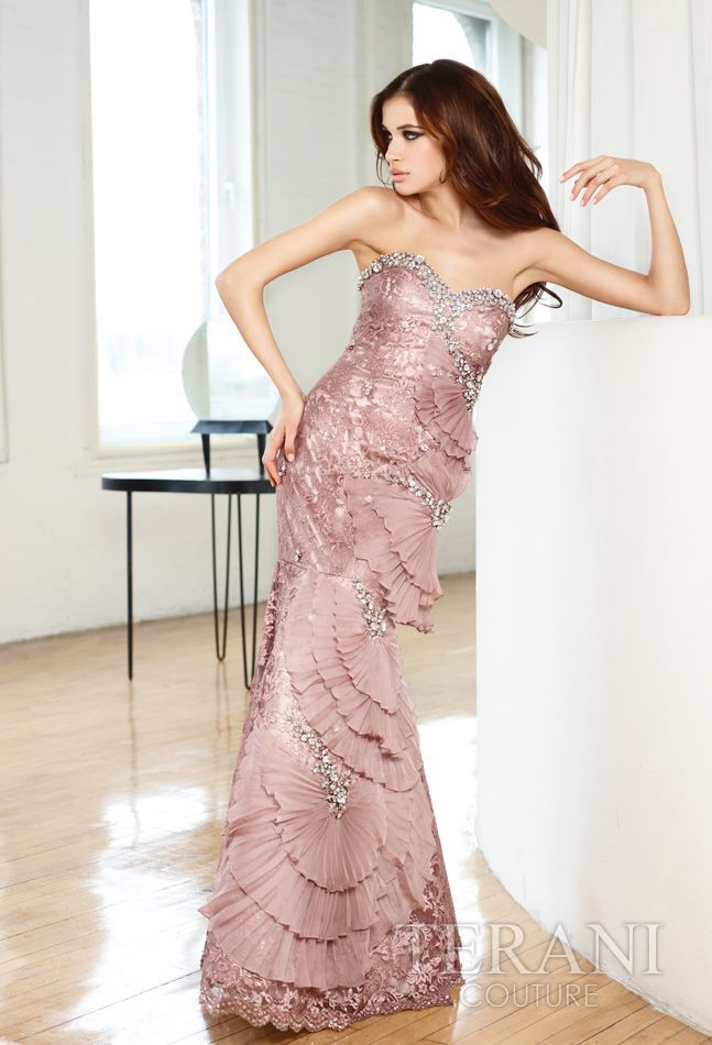 214 Terani Couture dusty pink long evening dress | Runway Fashion ...