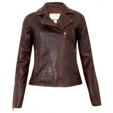 jaqueta feminina couro marrom