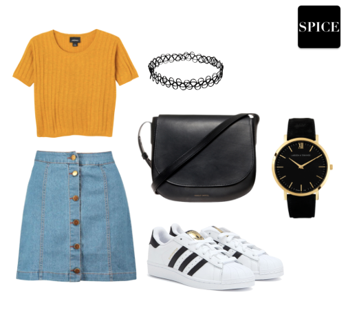 Spice Look #14 | Simple Cute Fashion Outfit for school ft. 70s Denim Skirt
