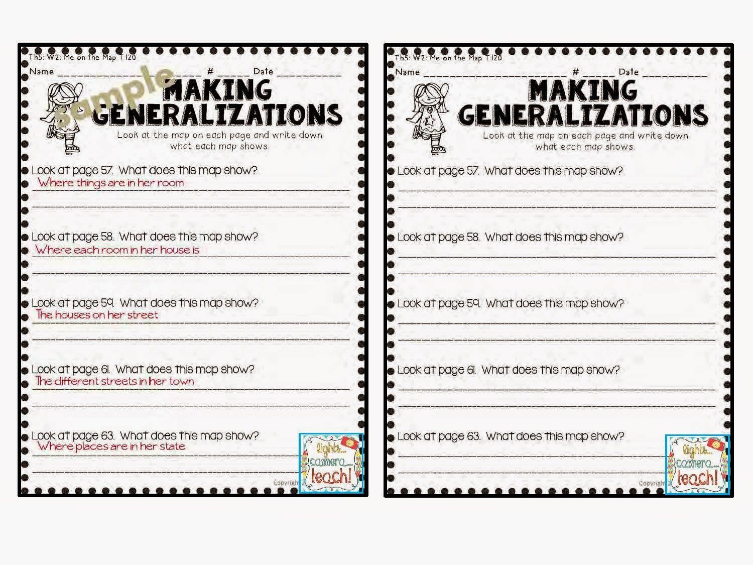 Making Generalizations comprehension Skill  This resource comes with