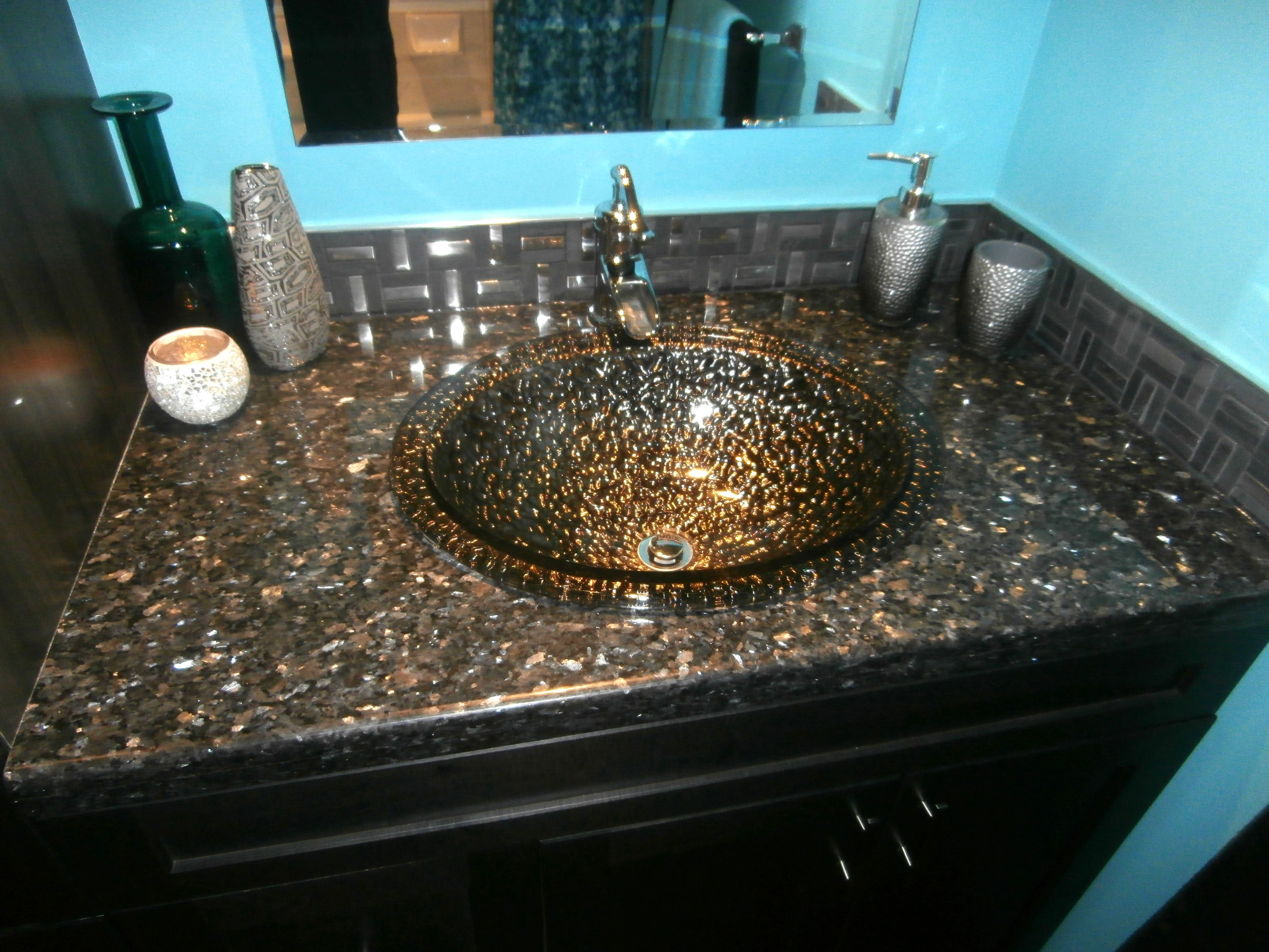 Shivakashi granite countertops slab and prices living rooms gallery - Zambukka Charcoal Cabinetry Blue Pearl Granite Pebble Glass Sinks Black Nickel