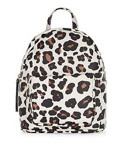 Brown Animal Print Curved Mini Backpack