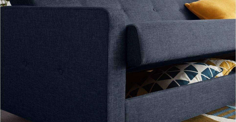 Chou slaapbank met opbergruimte kwartsblauw slaapfauteuil