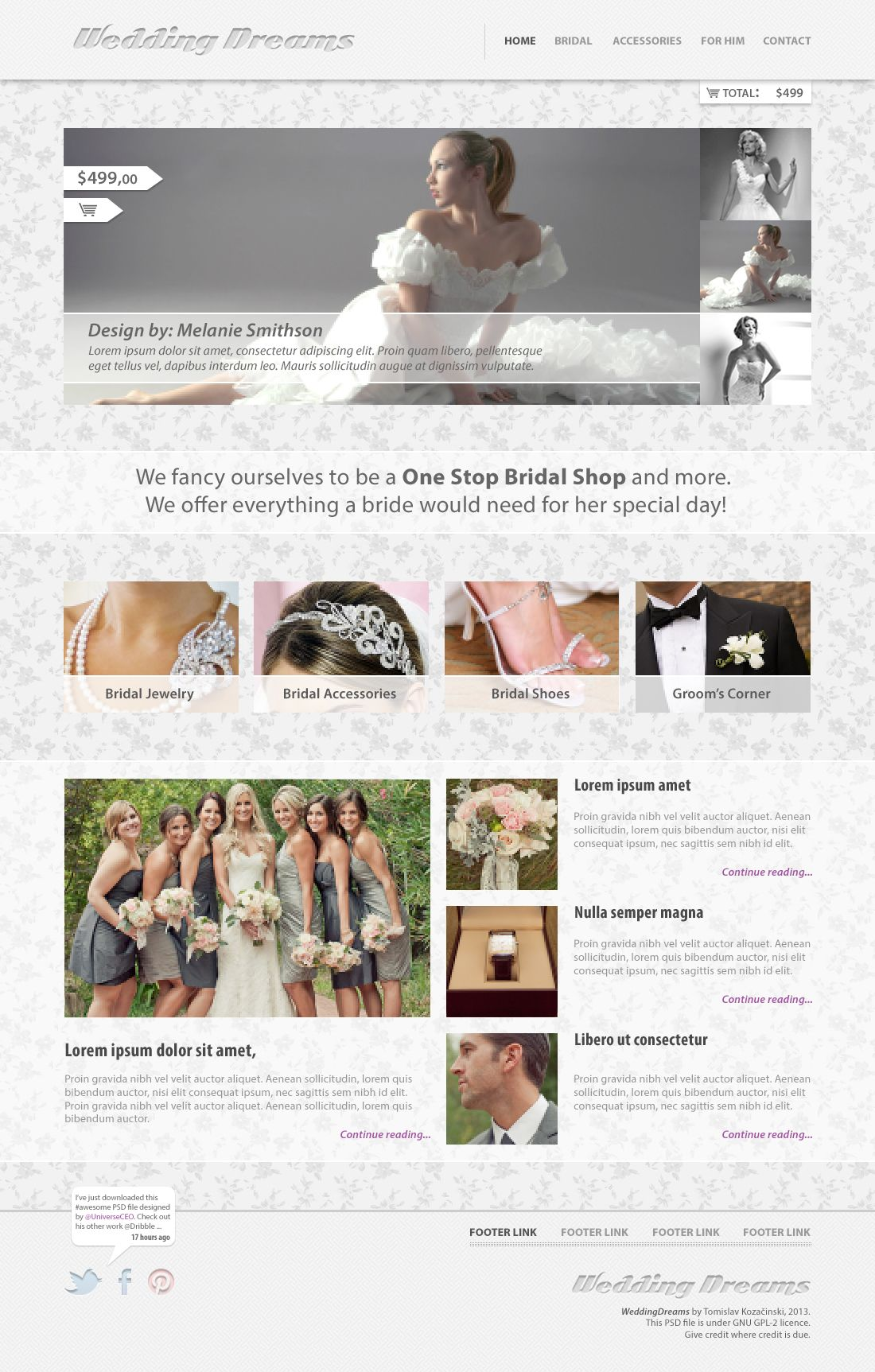 Wedding Dreams - Free PSD Template
