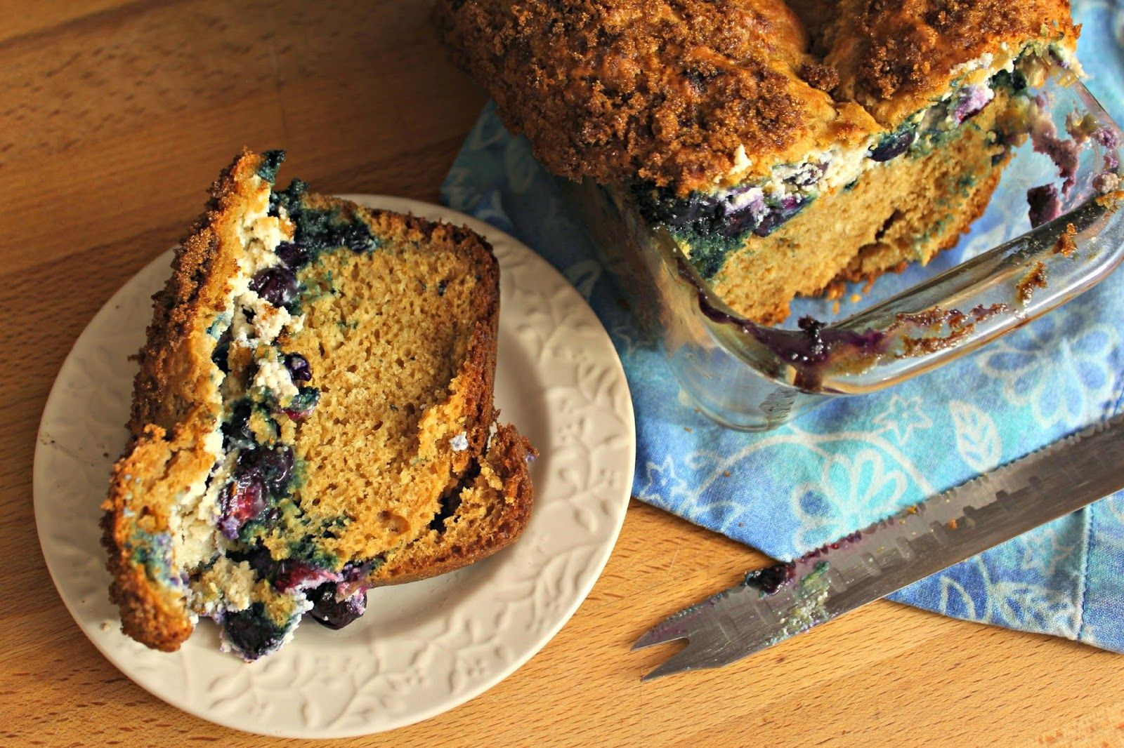 Blueberry Ricotta Coffee Cake: I'm not going to claim this is healthy, but it is worth noting there is only 1/4 cup (4 Tbs.) of butter, and no other fat (ok, some low fat milk, but that's negligible) except for the ricotta cheese (which can be low fat); you could also use (reduced fat) cream cheese in place of the ricotta. And for something as delicious as Blueberry Ricotta Coffee Cake? Totally worth it. From the blogger and culinary school student saraheatsaustin.com