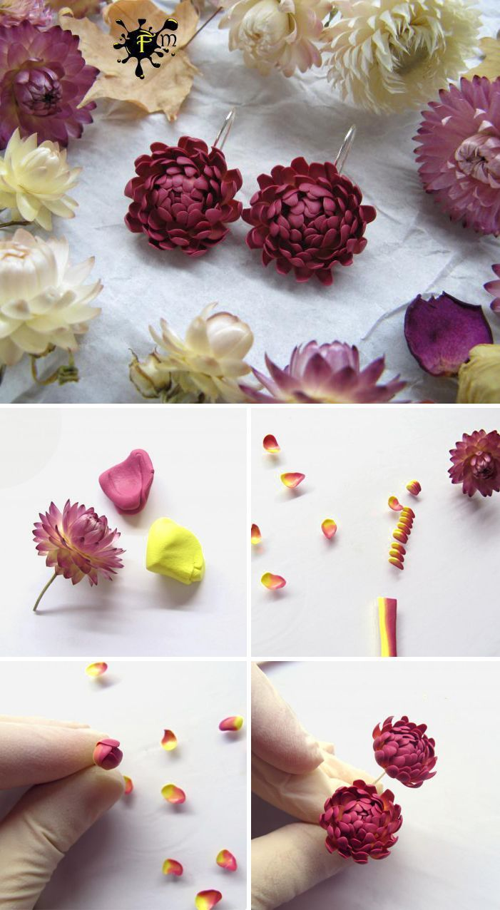 Polymer Earrings with Immortelle Flowers DIY –  #DIY #earrings #flowers #immortelle #polymer