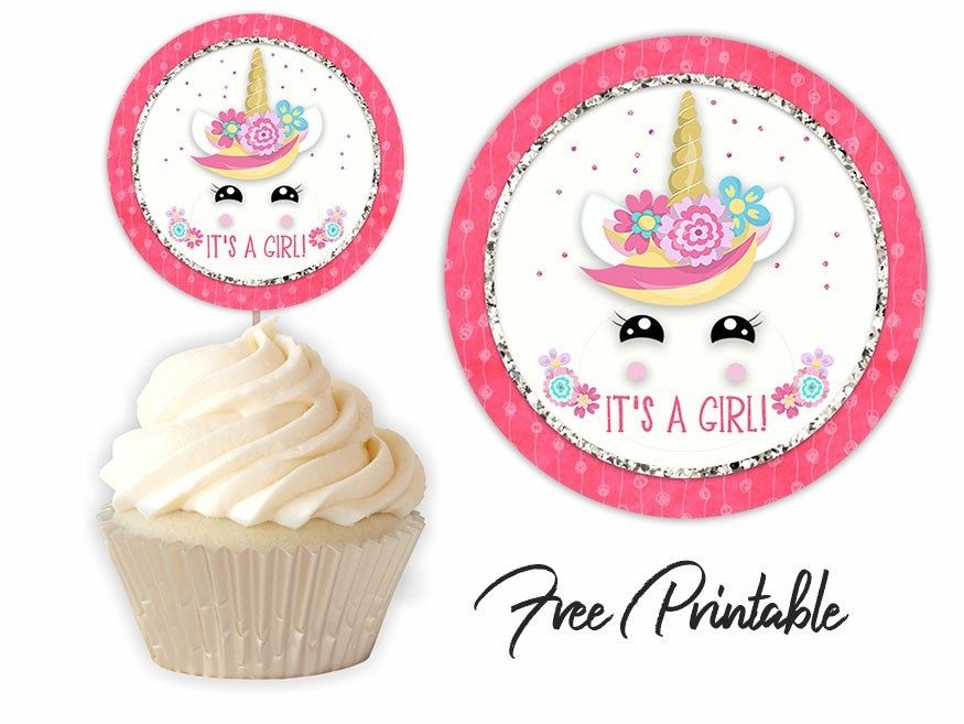 Unicorn Baby Shower Printable Cupcake Toppers Cupcake Toppers Printable Cupcake Toppers Free Unicorn Baby Shower