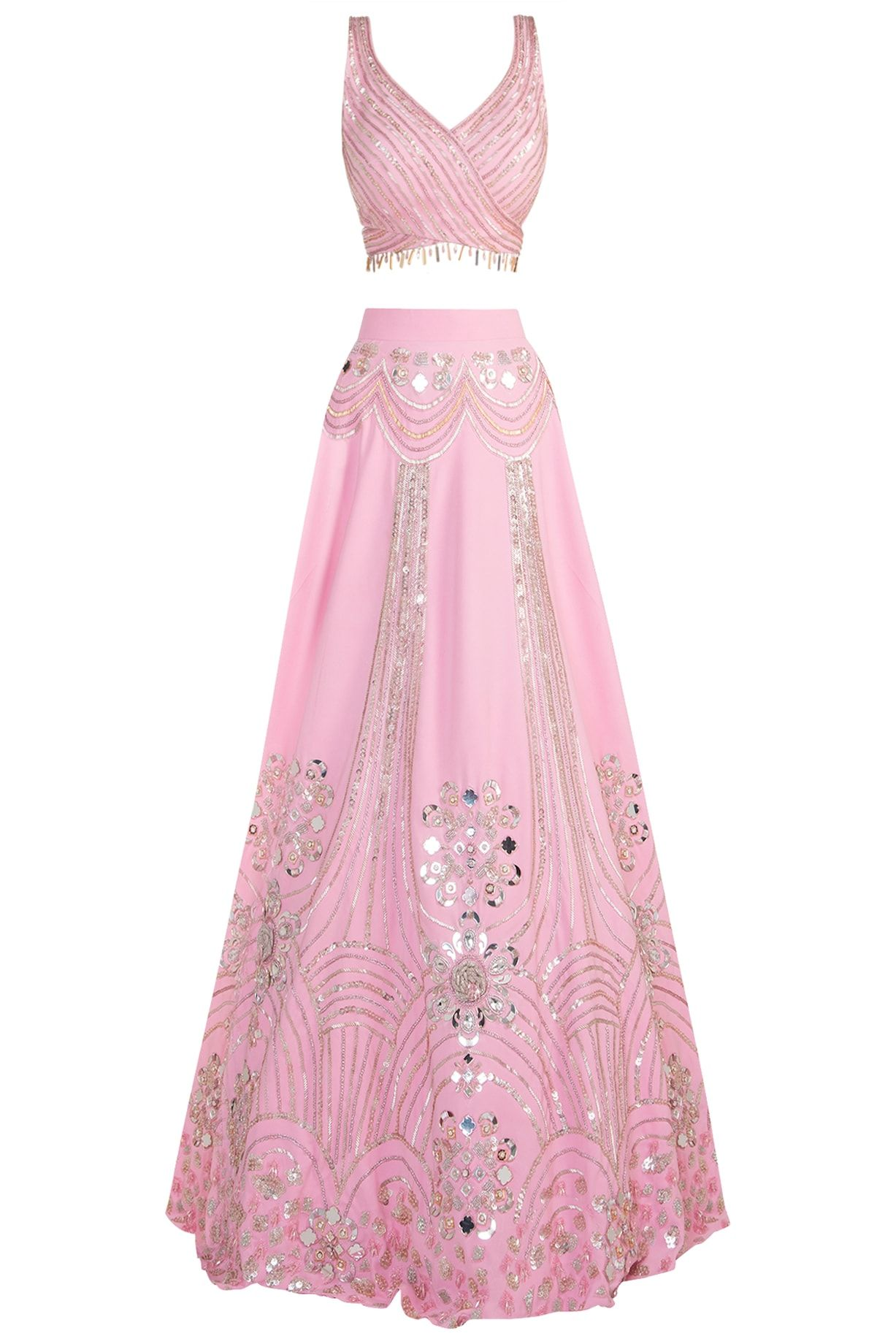 Pink embroidered lehenga set available only at Pernia's ...