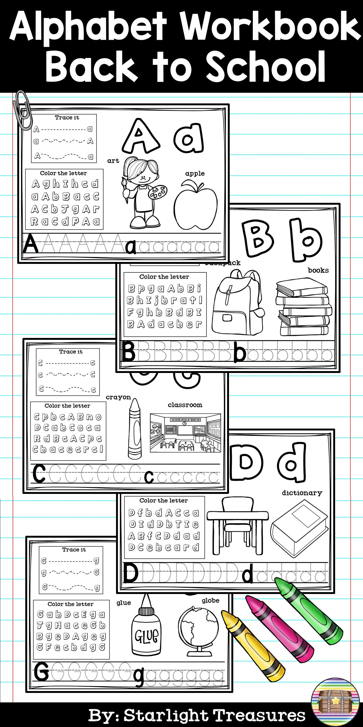 Alphabet Workbook Worksheets A Z Back To School Theme
