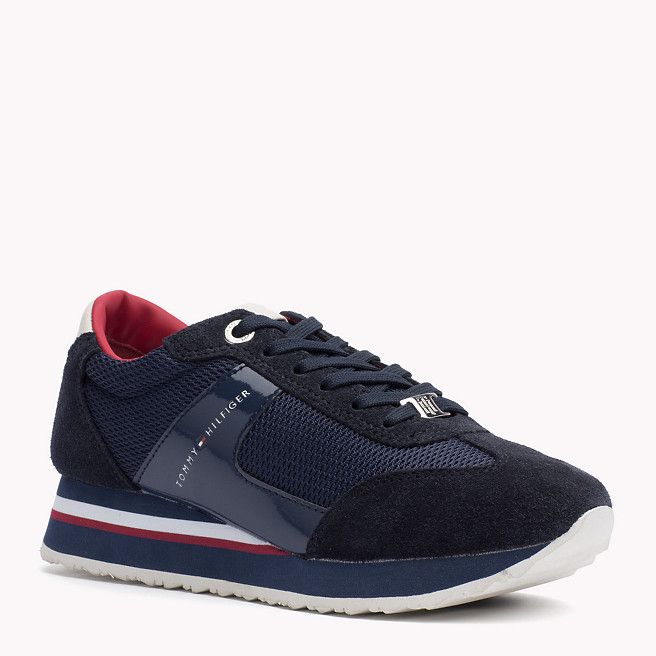Textile Mix Lace-Up Trainers - Sales Up to -50% Tommy Hilfiger