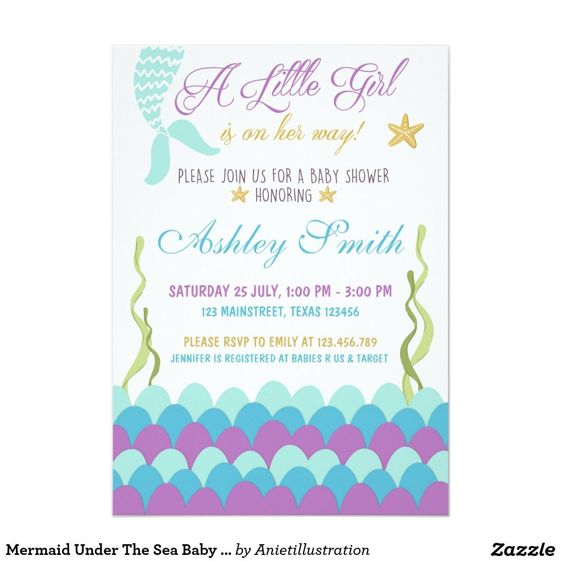 Mermaid Under The Sea Baby Shower Invitation | Shower invitations ...
