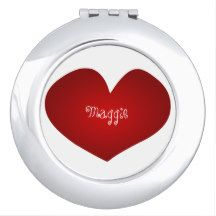"""""""Hearts of Love"""" Monogram Template-Silver-Red Compact Mirror"""