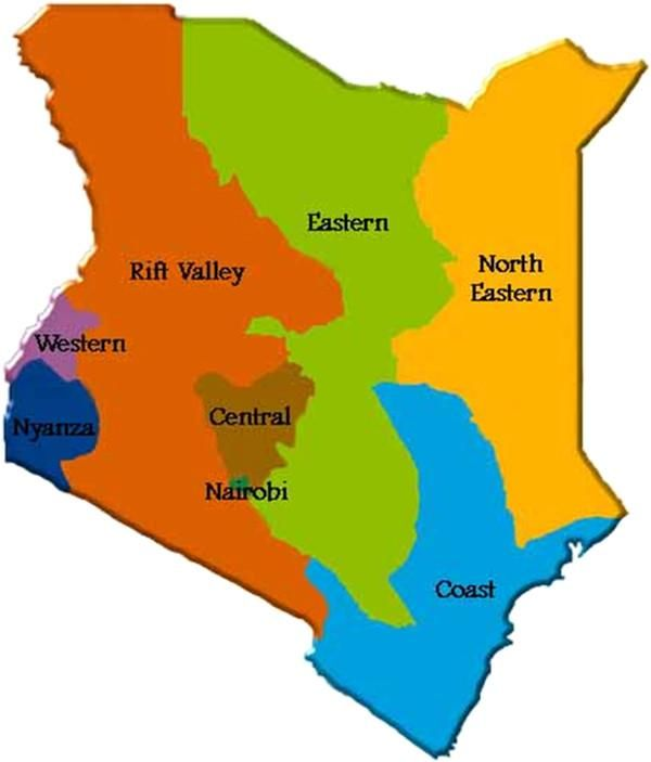 Map Of Kenya Showing The Eight Provinces