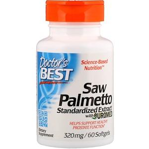 Doctor S Best Saw Palmetto 프로스테롤 함유 표준 추출물 320mg 소프트젤 60정 건강한 영양 젤라틴