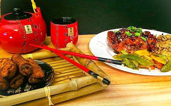 Asian Glazed Cornish Hen w/Shiitake Quinoa, Sautéed Vegetables & Baby Spring Rolls