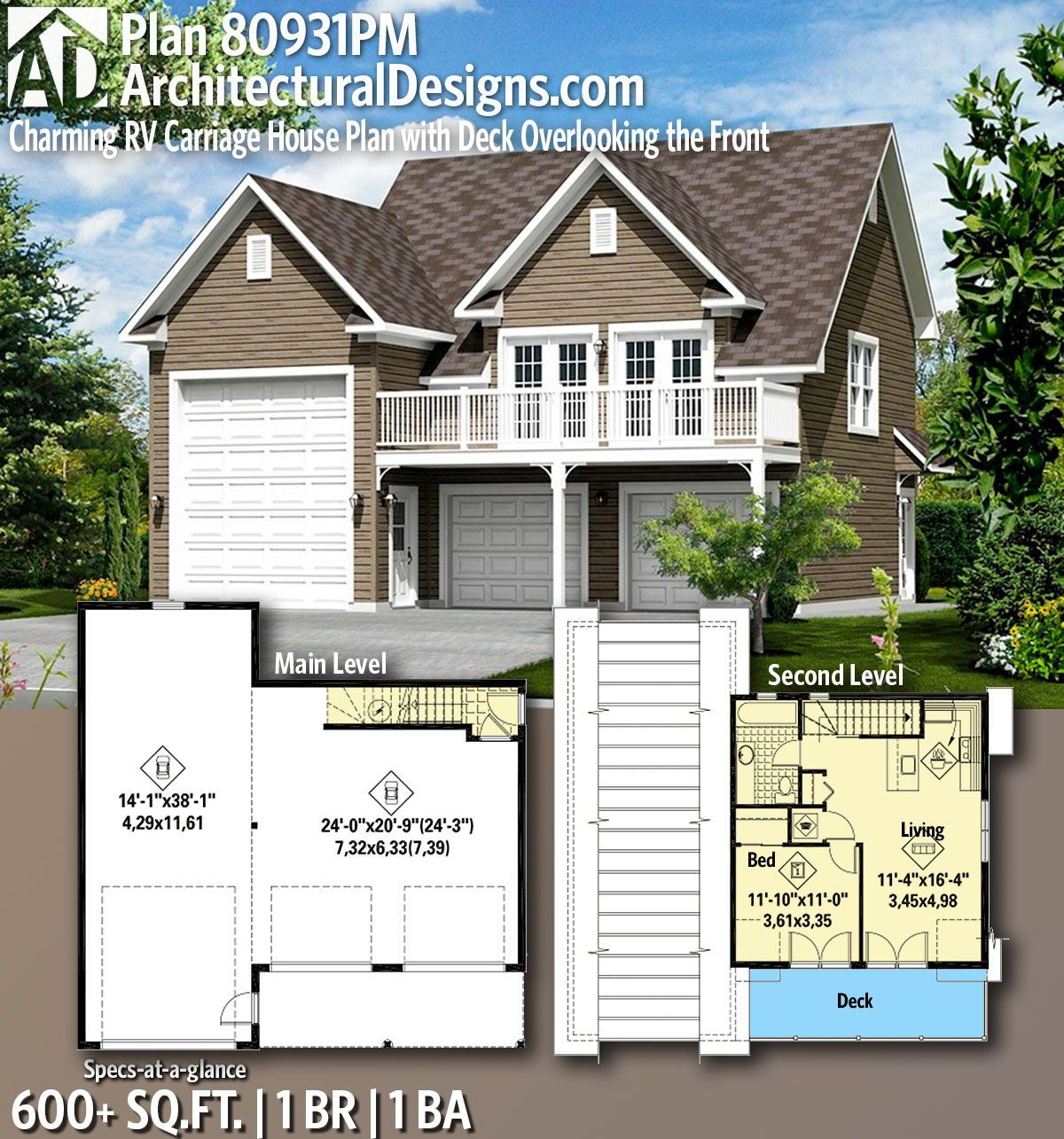 Plan 80931pm Charming Rv Carriage House Plan With Deck Overlooking The Front Carriage House Plans Garage House Plans House Plans
