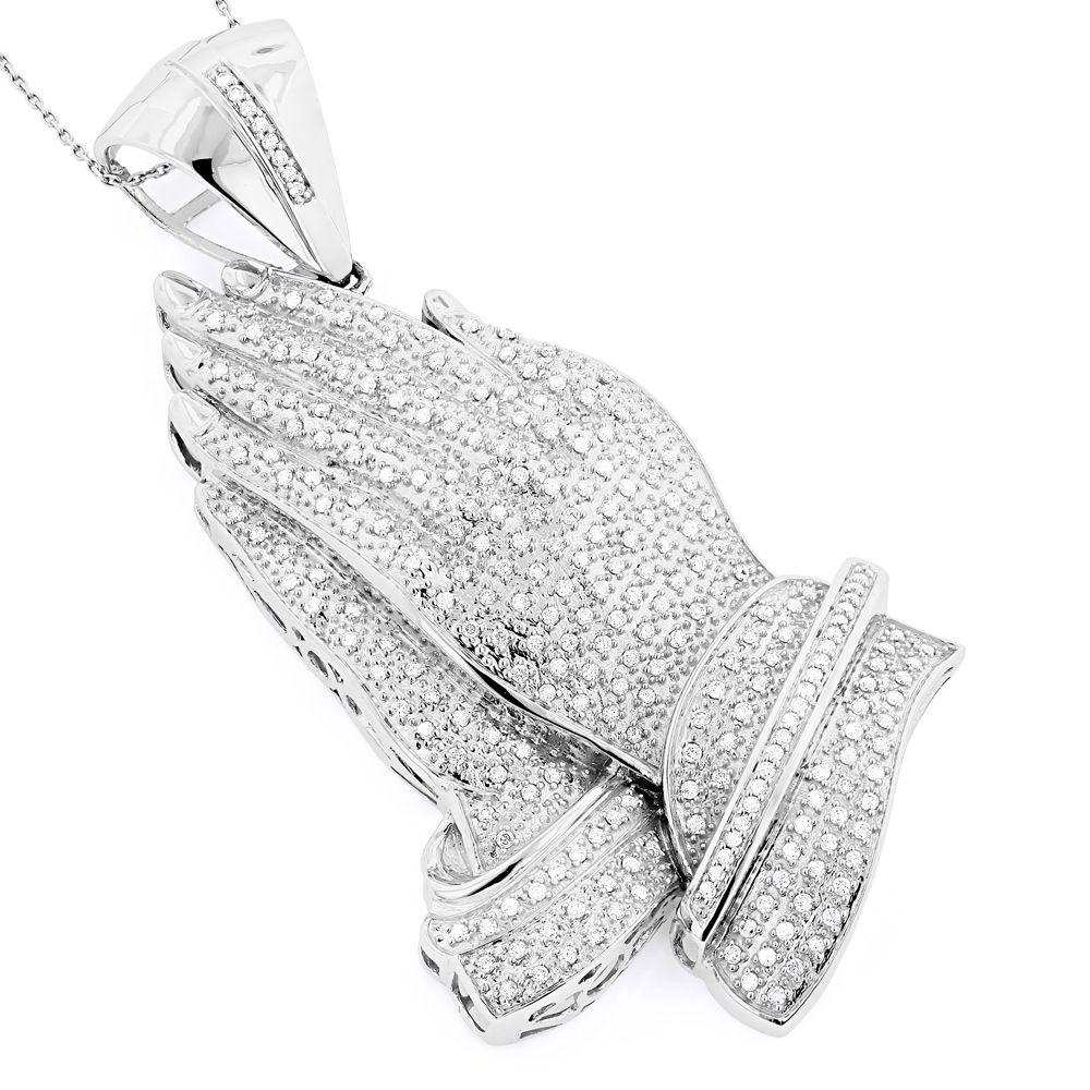 14k gold diamond praying hands pendant 287ct aloadofball Choice Image