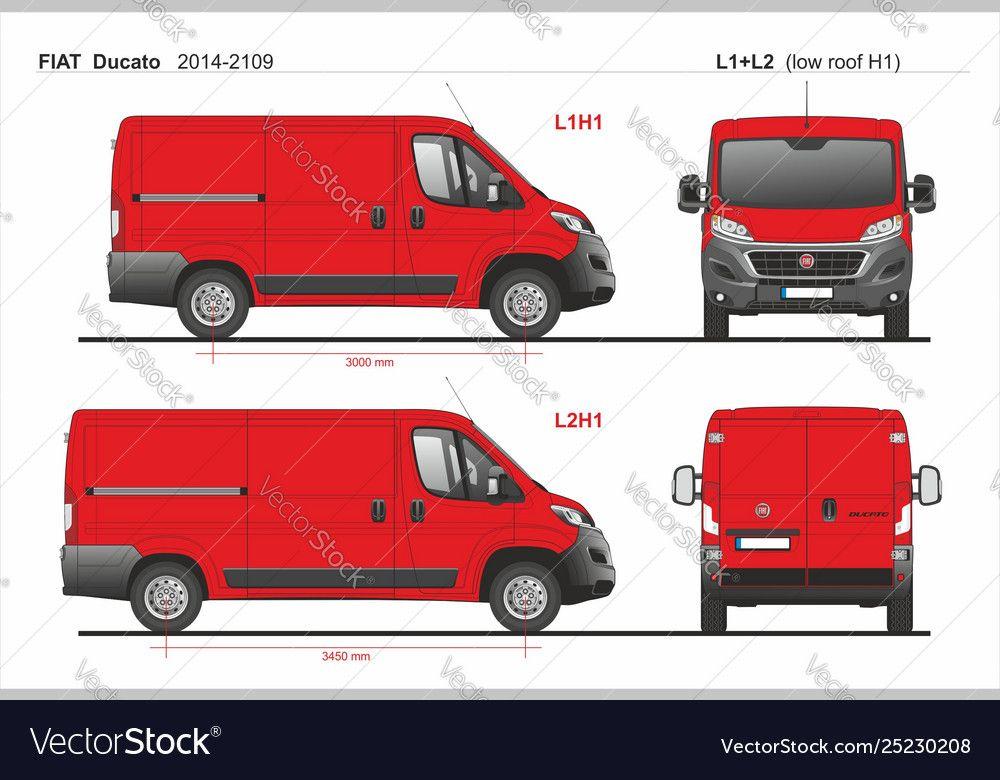 Fiat Ducato Cargo Van L1h1 And L2h1 2014 2019 Vector Image On Fiat Ducato Fiat Cargo Van