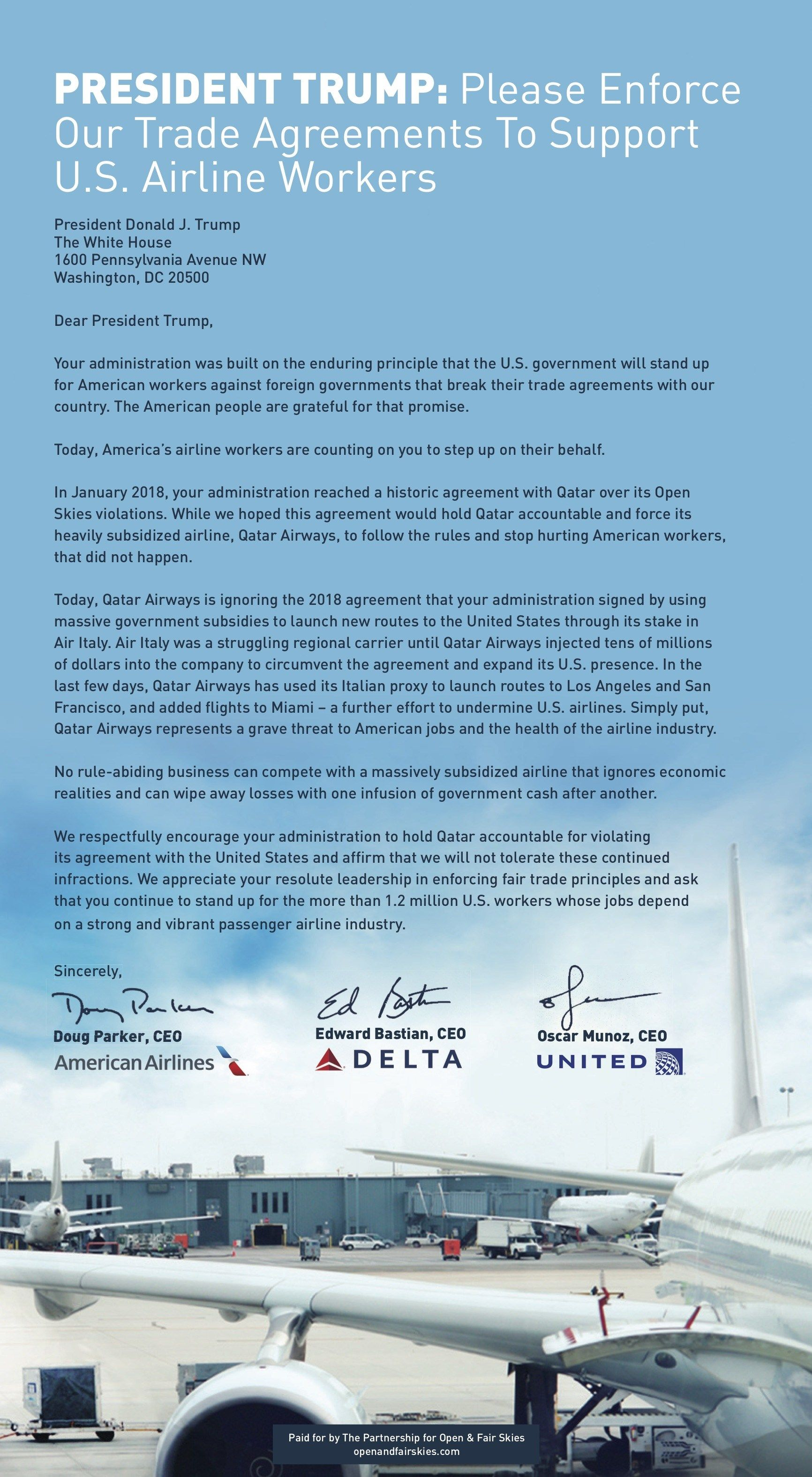 Ceos Of Delta United And American Place Ad Urging Trump To Take Action On Qatar Feud Feud The Unit Take Action