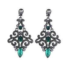 E877 Forever 21 Vintage Drop Green / Blue/ Champagne Rhinestone Earrings US