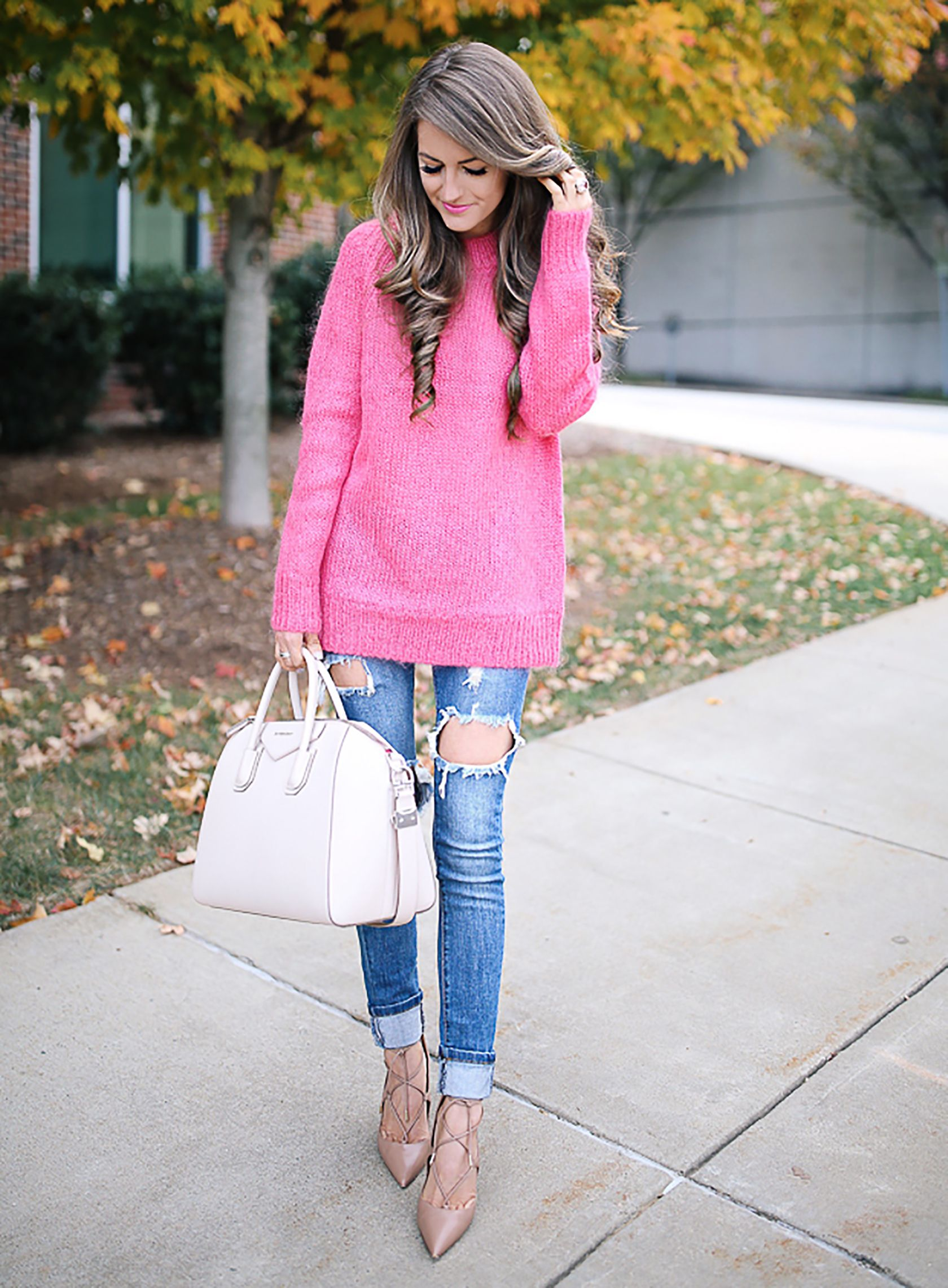 f763f7b30442d Sydne Style shows pink outfit ideas for fall with fashion blogger southern  curls pearls in hot pink sweater #pink #sweaters #jeans