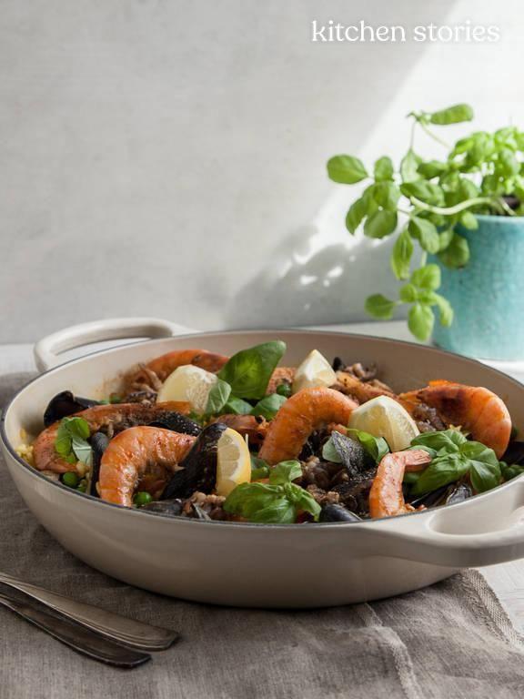 einfache paella mit meeresfrüchten rezept kitchen