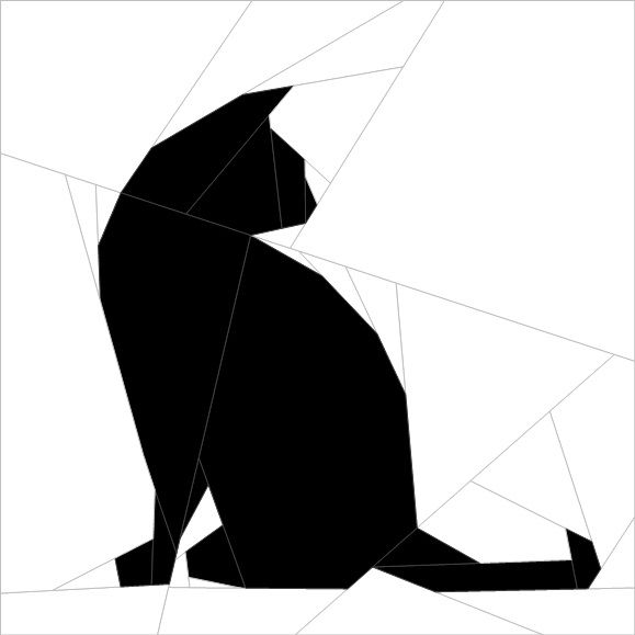 "Silhouette Cat #3 10""(26 cm) Paper Pieced patterns quiltartdesigns.blogspot.com"