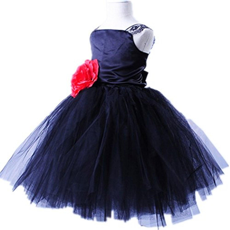 Fashion Kids Party Wear Flower Girl Tutu Dress Dark Black for 6~6