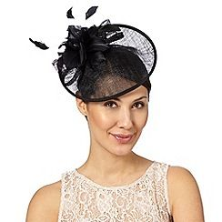 Debut - Black feather corsage saucer headband