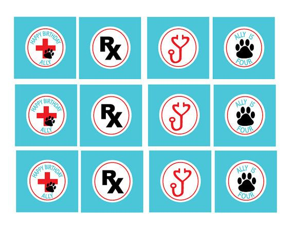 Veterinarian doctor puppy themed Birthday party printables from