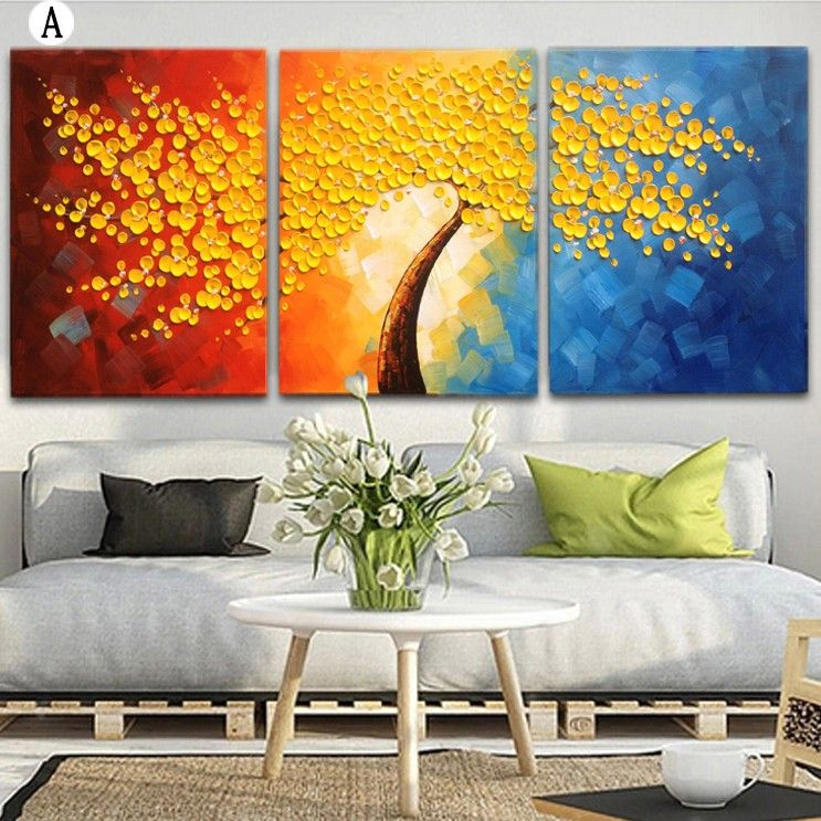 Style Your Living Room Dining Hall And Bedroom With This Lively Brilliant Blossom Canvas Wall Art This Set O Colorful Oil Painting Wall Canvas Panel Wall Art